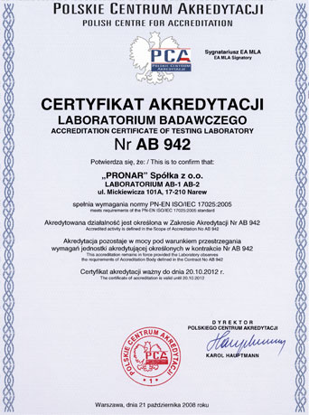 Accredited laboratory Pronar