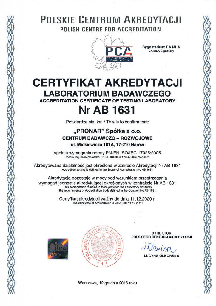 Laboratorium akredytowane AB1631 Pronar_2