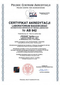 Laboratorium akredytowane AB 942