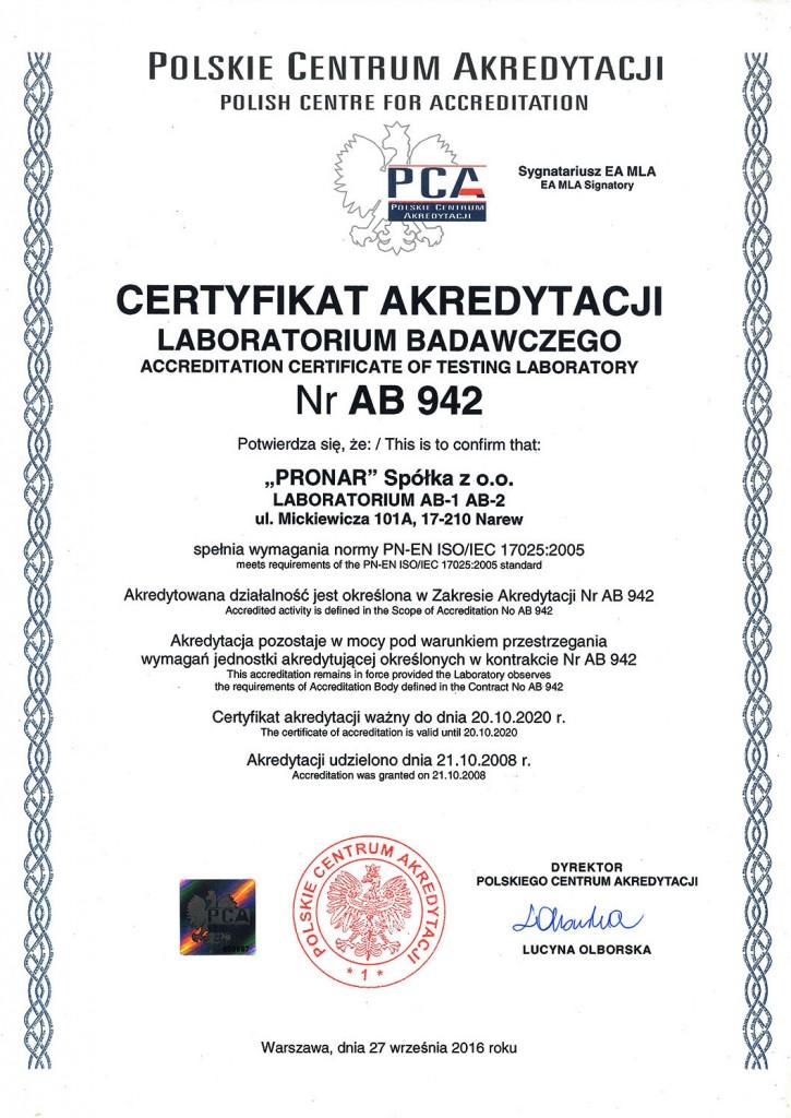 Laboratorium akredytowane certyfikat AB 942
