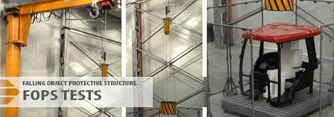 Falling object protective structure (FOPS) tests