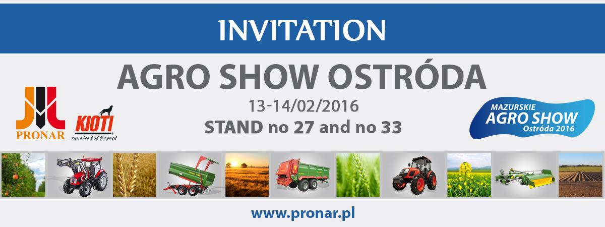 Invitation: AGRO SHOW Ostróda – 13-14.02.2016 Ostróda (Poland)