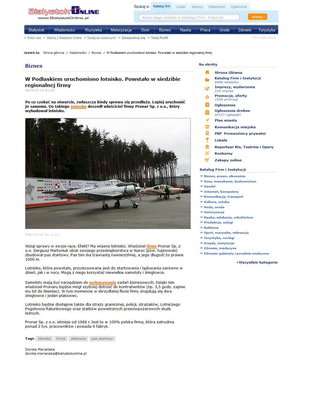 Białystok online Lądowisko Pronar
