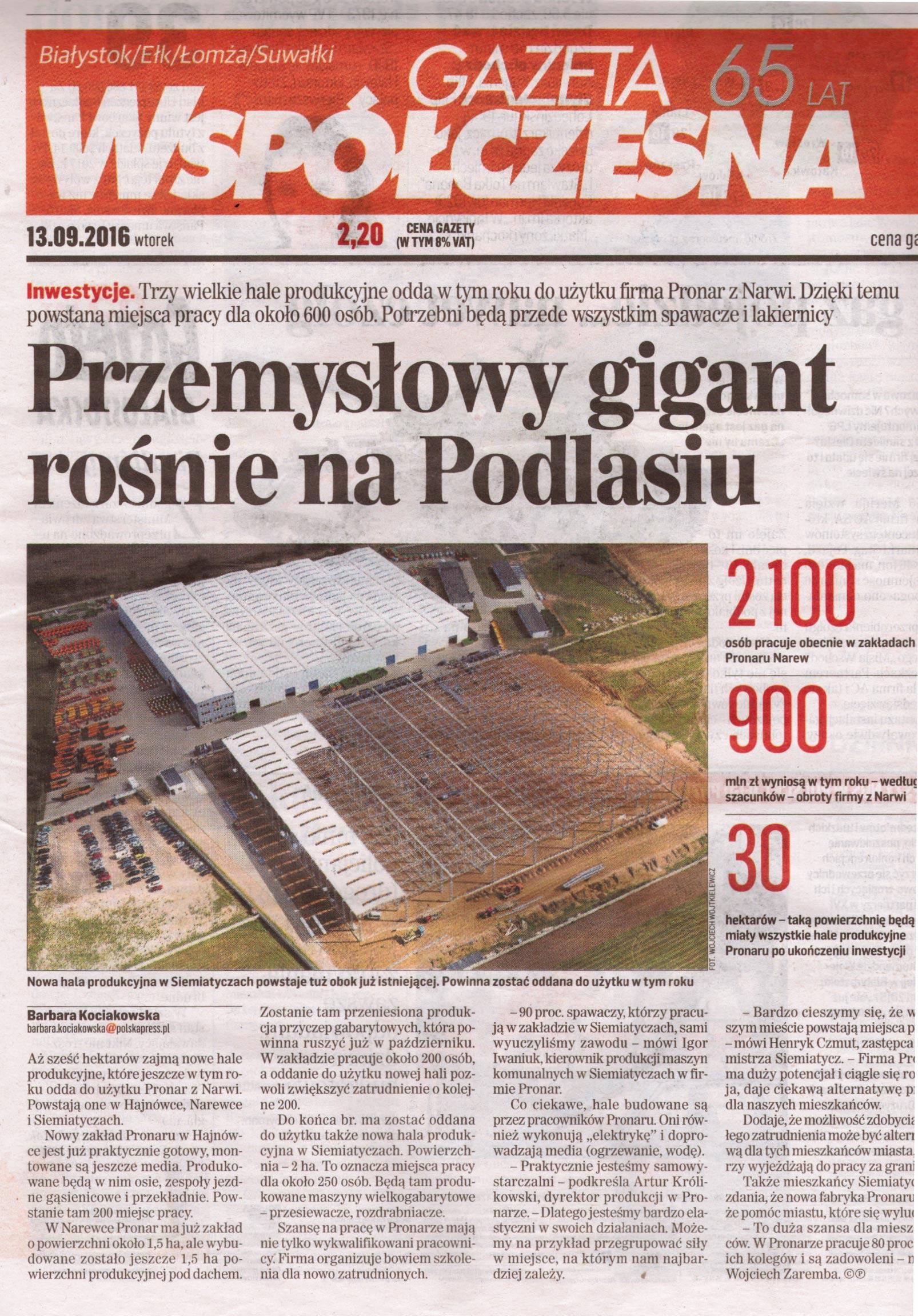Przemysłowy gigant rośnie na Podlasiu