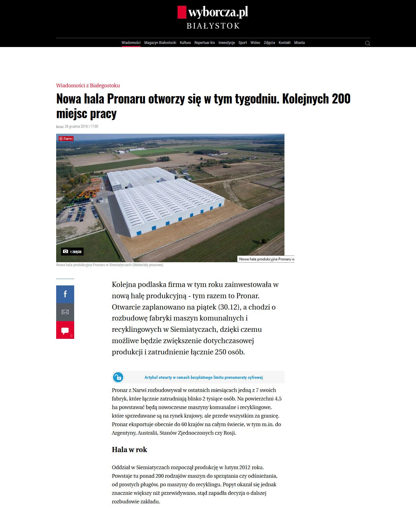 Otwarcie Fabryki Maszyn Komunalnych w Siemiatyczach