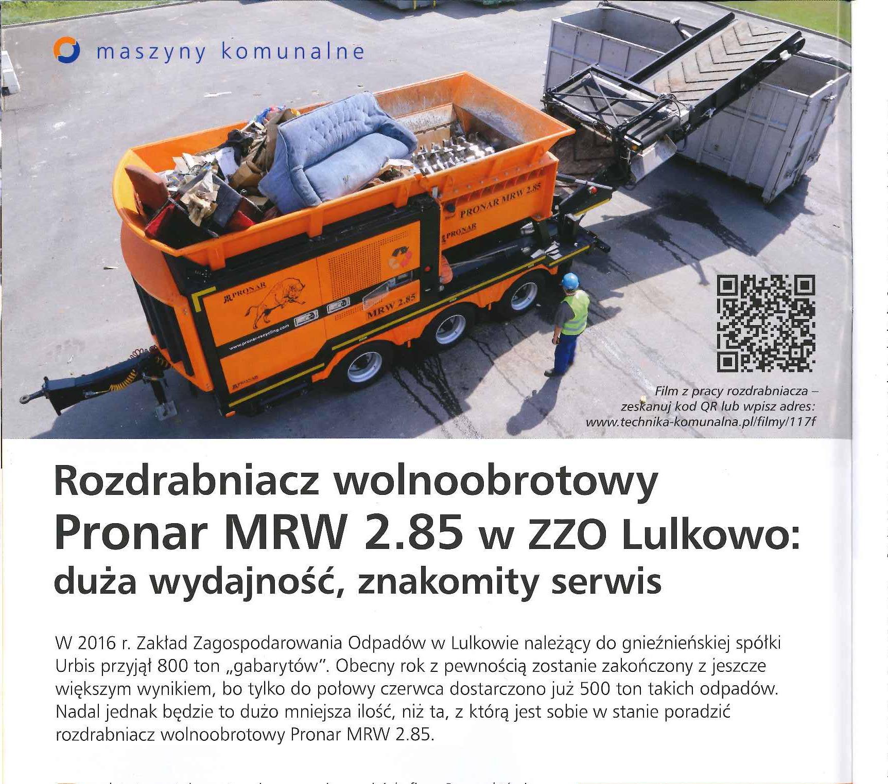 Rozdrabniacz wolnoobrotowy Pronar MRW 2.85 w ZZO Lulkowo