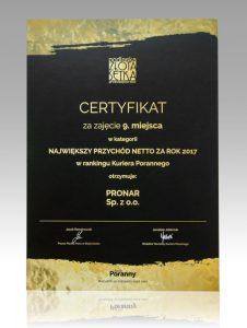 Podlaska Złota Setka  certyfikat