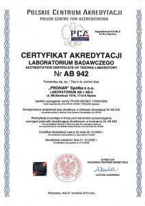 certyfikat PCA AB